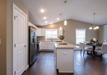 The Cumberland open-concept kitchen and dining room at Dudley Square