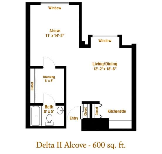 Marjorie P. Lee - Delta II Alcove Floor Plan